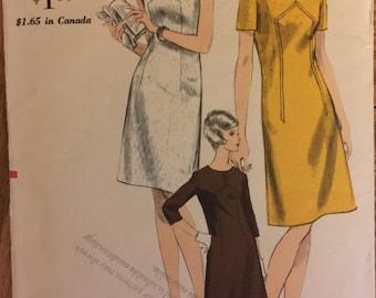 "VTG 6839 Vogue (1966). Misses' one piece dress. Size 16, Bust 36"". Unused, neatly cut/FF. Excellent condition."