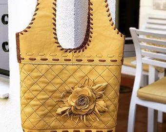 Yellow Genuine Leather Shoulder bag. Summer hobo bag. Handcrafted everyday large handbag. Boho style. Roomy bag. Gift idea for girl, sister.