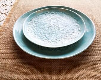 turquoise ceramic, plate set, ceramics and pottery, breakfast plates, dessert plates, home decor gift, ceramic wall art, decorative ceramic
