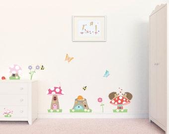 Kinderzimmer Wandtattoo / / Kindergarten / / Fliegenpilz Wandtattoo / / Kinder Wandaufkleber / / Mädchen Wandsticker / / Mädchen Abziehbilder / / Wandtattoo