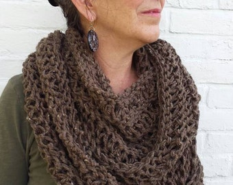 Brown Knit Infinity Scarf - Brown Knit Circle Scarf - Infinity Scarf - Brown Knit Scarf