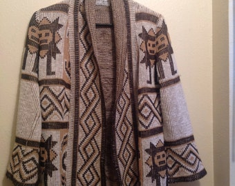 Vintage Aztec Print Cardigan Sweater