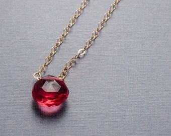 Dark Pink Quartz Gold Filled Necklace or choose your semi precious stone