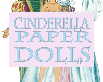 1970's Cinderella Paper Dolls Set Graphic INSTANT Digital Download
