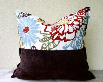 Linen hemp pillow cover 16x16  - brown moss green floral cushion cover - organic cotton canvas pillow case - rustic country home decor