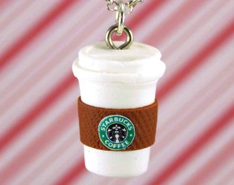 starbucks necklace kawaii polymer clay charms miniature food jewelry polymer clay food necklace food charm coffee necklace starbucks charm