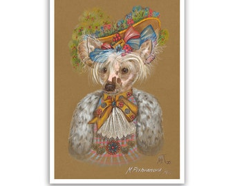 Chinese Crested Dog Art Print / The Gardener / Dog Lover Gifts & Wall Art / Dog Portraits by Animal Century