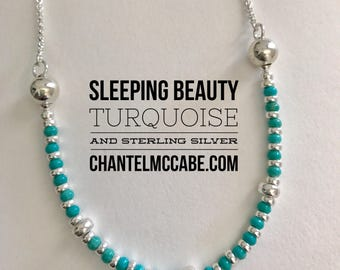Sleeping Beauty turquoise and sterling silver necklace, Perth Western Australia