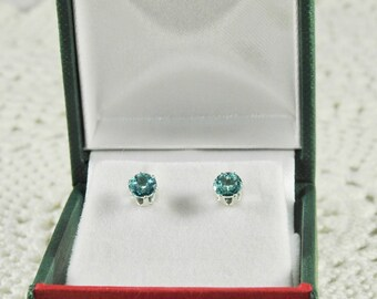 Blue Apatite 1.00 TCW 5 MM Round Sterling Silver Stud Earrings