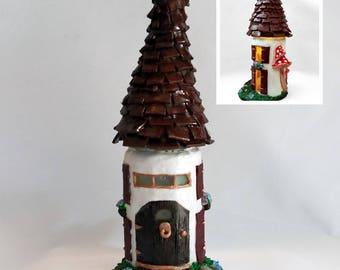 Altered Glass Jar Fairy House Candle Holder — Repurposed Glass Jar Polymer Clay Candle Holder — Housewarming Gift — Night Light — NurseryArt