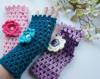 Fingerless Gloves with Flower