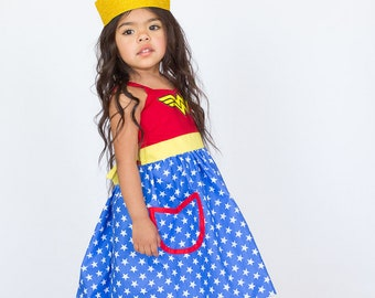 Wonder Woman costume, Wonder woman dress, Wonder Woman costume girls, super hero costume , toddler girls costume, Halloween costume girls