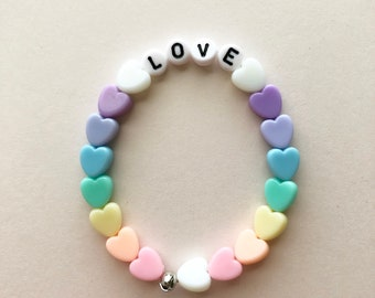Love Heart Bracelet, Fairy Kei Bracelet, Gifts For Teens, Pastel Jewelry, Rainbow Bracelet, Kawaii Bracelet, Pastel Goth, Fairy Kei Jewelry