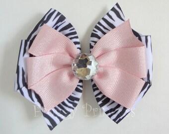 Glitzy Zebra Bow - Double Pinwheel - No Slip Velvet Grip Hair Clip
