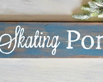 Rustic Skating Pond Arrow Sign