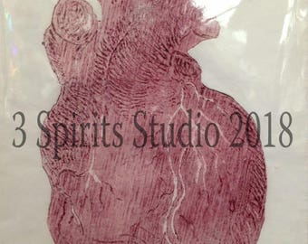 "Valentine's Day SALE Original woodcut Relief Artist Proof Print ""Heart"""
