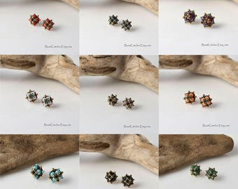 Multicolored Beadwoven square stud earrings