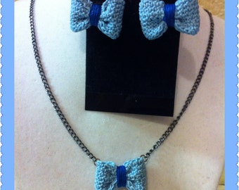 Crochet Bow Stud Earrings with matching necklace