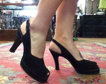1940's Black Suede Peep Toe Heels