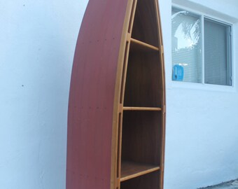 Hand Crafted  Canoe  Nautical Book Case /Shelving.