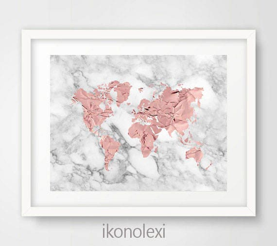 rose gold world map rose world map world map poster marble