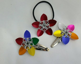 Flower Chainmaille Hair clip/tie