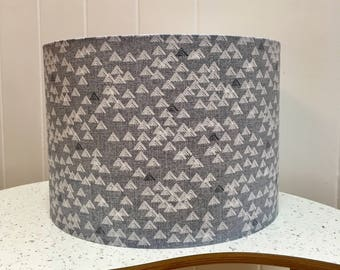 Grey geometric patterned drum lampshade - geometric pattern - triangle pattern - Scandinavian - Scandi - grey & white lampshade