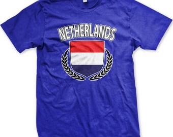 Netherlands Flag Crest With Olive Branches Men's T-shirt, Netherlands Flag Shield, Nederland Pride, Men's Netherlands T-shirts GH_00231_tee