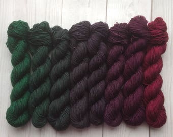 Gradient yarn set -  merino cashmere, handdyed yarn 400g- hand painted dyed sock shawl ombre -From moss to berry.