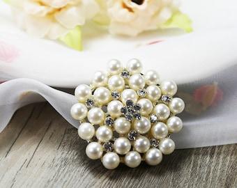 Clear Crystal Brooch Rhinestone Brooch Pearl Brooch Bouquet Brooch Cake Decor Crystal Brooch Pin Wedding Invitation Wedding Embellish Favor