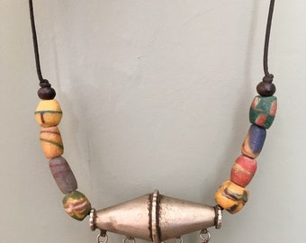 Old Berber Necklace with Dangles & Colored Glass Beads on Leather Cord South Morocco