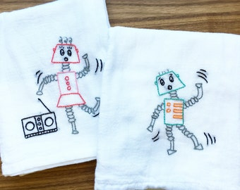 Robots Dance Hand Embroidered Dish Towels
