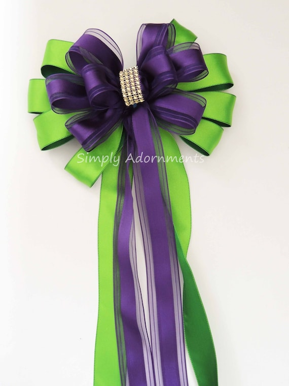 Purple Green Wedding Church Aisle Pew Bow Kelly Purple Ceremony Pew Bow Bridal Shower purple Greeb Decor Birthday Party Decor Package Bow