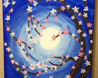 Cherry blossom reaching for the sun, tree, branch, cherry blossom - acrylic on canvas - affordable art , hand painted by a veteran artist