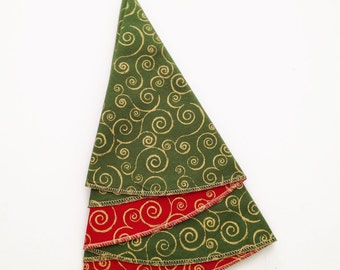 Christmas Napkins, Christmas Tree Napkins, Green and Red Napkins