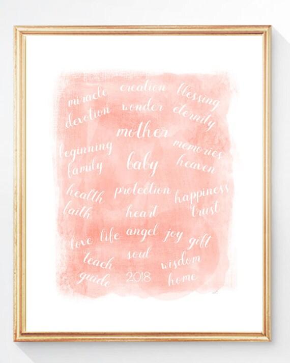 Baby Blessing, 8x10, 11x14 Blush Nursery Print