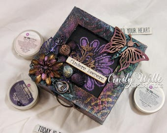 Altered Wooden Box in Mixed Media Style
