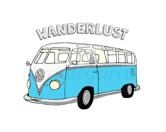 Wanderlust VW Van Art Print on Fine Art Quality Recycled Paper