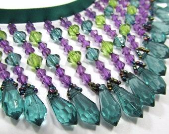 Peacock Evenings 3 inch Straight Medium Beaded Fringe Trim in Teal, Purple and Green for Costume, Craft or Home Decor Beaded Trim