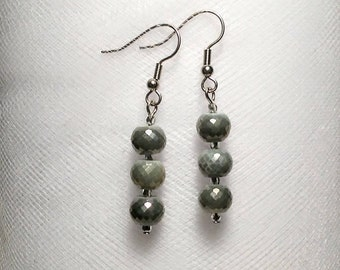 Long gray multi faceted glass beads with silver Czech crystal bead accents earrings