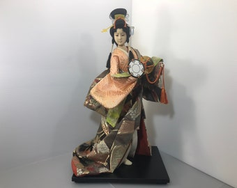 Rare Japanese doll Nihon ningyo Vintage kimono handmade doll 1950s Antique Unique Rare geisha doll Unique kimono doll made in Japan (#222)