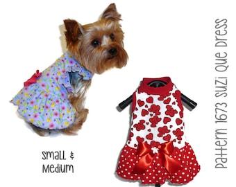Suzi Que Dog Dress Pattern 1673 * Dog Summer Clothes * Dog Summer Dress * Dog Clothes Patterns * Dog Clothing * Dog Apparel * Sm & Med