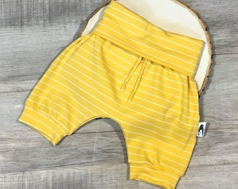 Grow-with-me Harem Shorts - Yellow Stripes