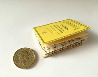 dollhouse piano, playscale book, Chopin, miniature piano book, 1:6 scale, playscale, miniature score, dollhouse books, dollhouse music room