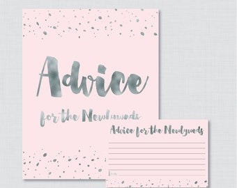 Advice for the Newlyweds Bridal Shower Activity - Printable Pink and Gray Bridal Shower Advice Cards and Sign - Faux Silver Foil 0010-K