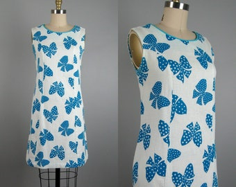 Vintage 1960s Shift Dress 60s Cotton Bow Print Sleeveless Summer Dress Size M