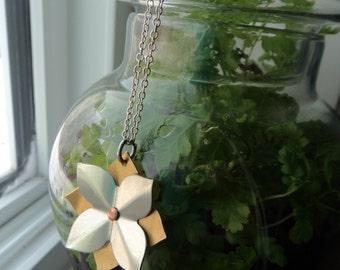 Layered Hydrangea Flower Pendant- Riveted Flower Jewelry- Brass Aluminum Hydrangea