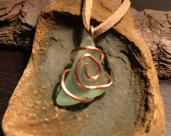 Teal Beach Glass Wrapped in Rose Gold Wire on Tan Suede Necklace