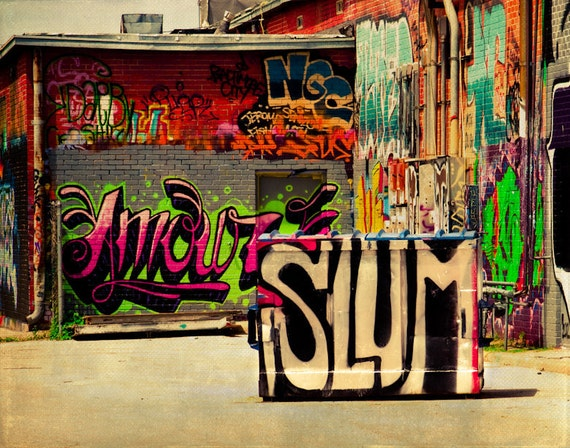 Graffiti Art Print Street Photograph Modern Hip Hop Pop Culture Spray Paint Fine Photography Urban Decay Wall Decor