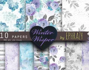 Flower digital paper.  Floral digital paper. Flower paper. Winter digital paper. Watercolor paper. Digital paper.